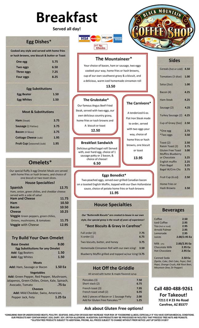 Breakfast Menu, Diner, Black Mountain Coffee Shop, Restaurant, Carefree, AZ 85377, 85331