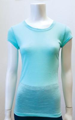 603PS 100% Polyester Slub Round Neck Short Sleeve