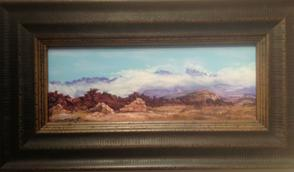 An Untold Story miniature pastel landscape by Big Bend Artist Lindy C Severns custom framed by Midland Framing.