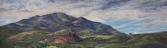 The finished pastel landscape painting, 30 in x 50 in Broken Sky Over Blue Mountain by Lindy Cook Severns