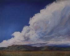 Thunderstorm over Blue Mountain, original Davis Mts Texas landscape by Lindy C Severns