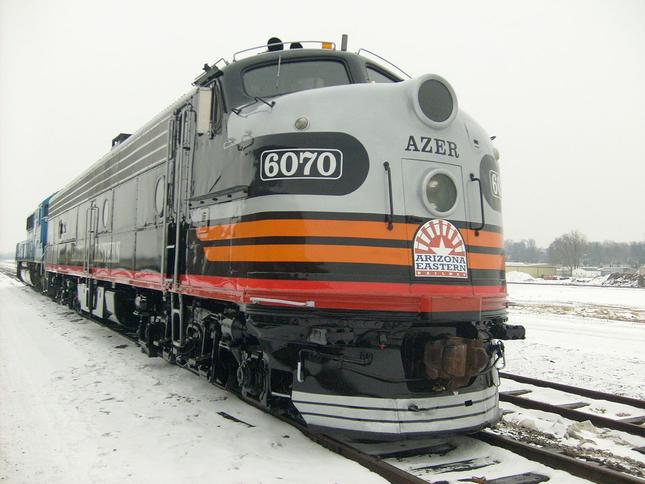 An E8 locomotive which was used on the Copper Spike train in 2010.