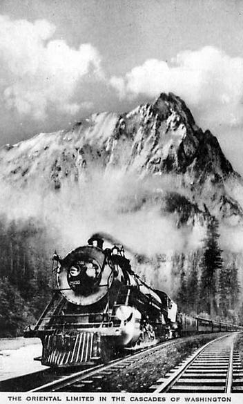 The Oriental Limited rolls through the Cascade range in Washington state.