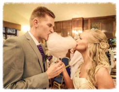 "alt="" bride & groom heart candy floss hire sussex"""
