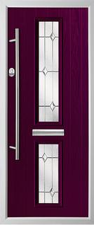 2 square composite door in purple