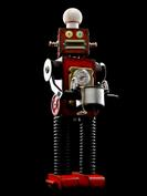 retro robot sculpture art astronaut