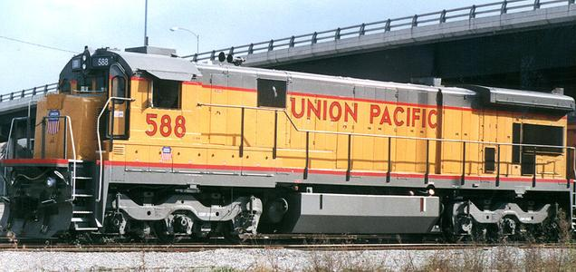 Union Pacific 588 was a General Electric model C36-7 modified internally to a C36M. Photo: Houston Texas, 2000.