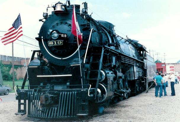 SL-SW locomotive No. 819 attends the Fordyce on the Cotton Belt Festival in 1986. Photo by Bill B. Bailey.