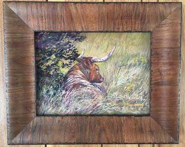 The Good Life, Texas longhorn in the shade, a pastel wildlife painting by contemporary Texas artist Lindy C Severns, Old Spanish Trail Studio, Fort Davis TX
