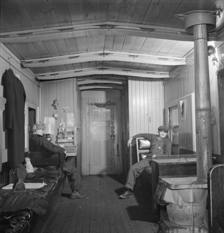 The interior of an Indiana Harbor Belt Railroad caboose in 1943.