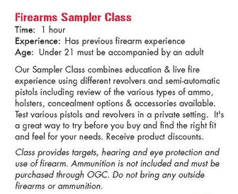 Firearms Sampler Class Osseo Gun Club