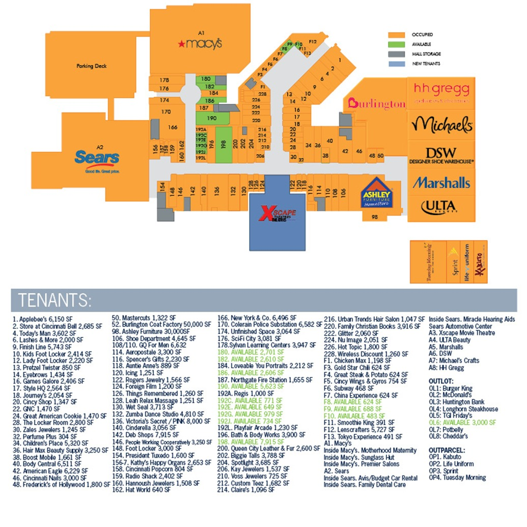 Northgate Mall Map Northgate Mall Map