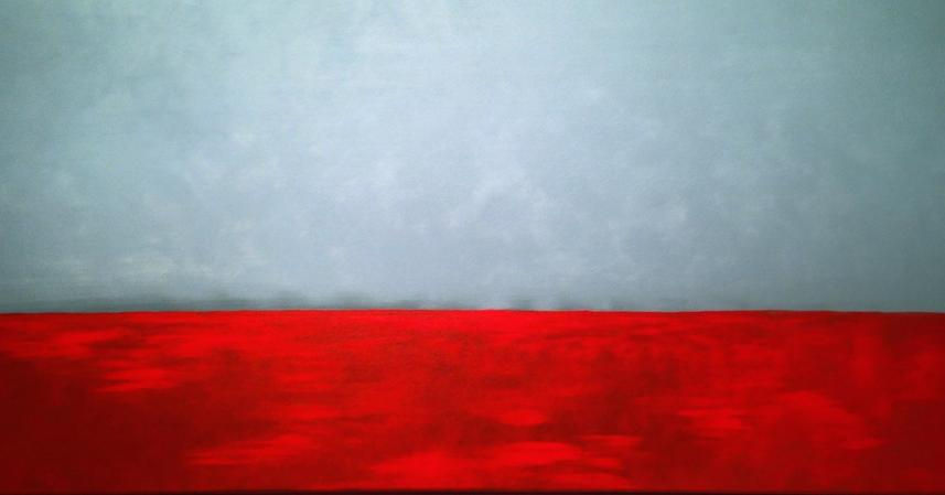 LC/Lough Conn. 60x140cm. Original acrylic painting by Irish artist Orfhlaith Egan. Berlin Gallery & Studio.