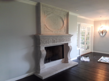 Classic Cast Stone Fireplace Mantel with Overmantel