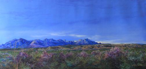 "Dawn Bloom, Texas Sage and Chisos Sunrise, a large Big Bend landscape painting by Texas artist Lindy Cook Severns. 18"" x 38"" pastel for sale. Old Spanish Trail Gallery, Fort Davis, TX"