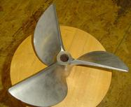 Used stainless steel CLEAVER 3 blade propeller. LEFT HAND ROTATION
