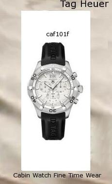 Watch Information Brand, Seller, or Collection Name TAG Heuer Model number CAF101F.FT8011 Part Number CAF101F.FT8011 Model Year 2011 Item Shape Round Dial window material type Anti reflective sapphire Display Type Analog Clasp Buckle Case material Stainless steel Case diameter 44 Case Thickness 12.5 Band Material Rubber Band length Men's Standard Band width 20 millimeters Band Color Black Dial color Silver Bezel material Stainless steel Bezel function Uni-directional Calendar Date Special features Water Resistant Movement Swiss quartz Water resistant depth 990 Feet