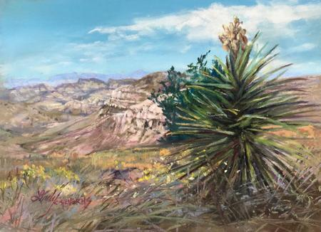 Desert Canyon Color, miniature pastel landscape near Marfa by Lindy C Severns
