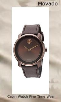 Movado Men's Swiss Quartz Stainless Steel and Leather Casual Watch, Color:Brown (Model: 3600377)