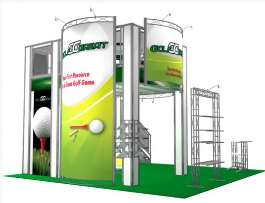 Great Golf two story trade show booth back view.