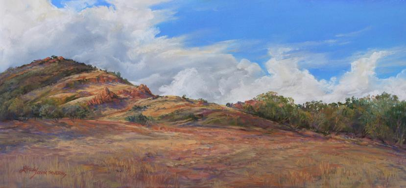 Breaking the Drought, original plein air pastel of a thunderstorm over West Texas ranchland by Lindy Cook Severns