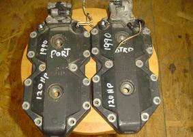 398818, 438525 Used cylinder heads (1 set) for a 1990 120 hp Johnson or Evinrude outboard motor. NLA OEM #398818, 438525