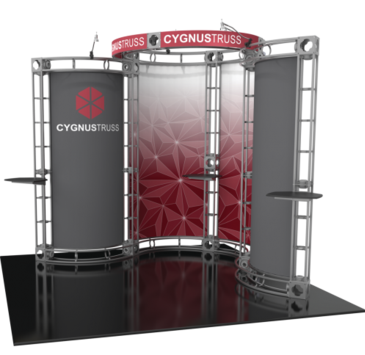 Cygnus orbital express 10x10 truss trade show booth exhibit right side view.
