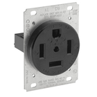 60 Amp, 125/250 Volt, NEMA 14-60R, 3P, 4W, Receptacle, Straight Blade, Industrial Grade, Grounding, Side Wired - Black