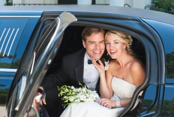 NYC Wedding couple in a Limousine