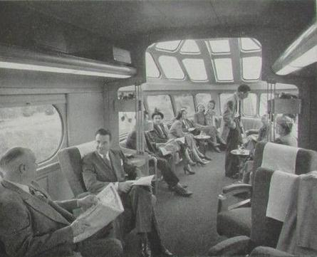The interior of a Skytop Lounge car on the Twin Cities Hiawatha, circa 1948.