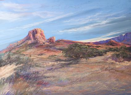 Sky Swept Texas, large pastel study by Big Bend Artist Lindy Cook Severns. Casa Grande in the Chisos Basin. Old Spanish Trail Studio, Fort Davis TX
