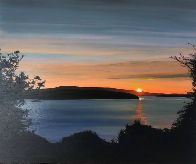 Dooras Sunrise 2019. 50x60cm. Acrylic paint on canvas, varnished. The Cornamona Collection. Realist Irish landscape painting by Orfhlaith Egan, Berlin and Cornamona.