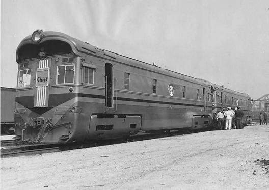 The two units of Atchison, Topeka and Santa Fe Railway Diesel locomotive #1, photographed in Chicago on August 31, 1935.