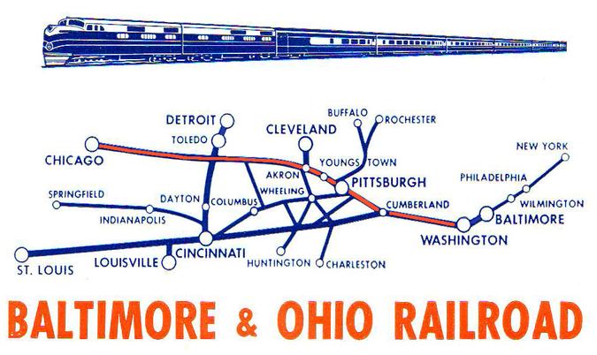 Route of the Blue Ridge Limited (in orange).