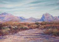 Autumn Color West Texas Style, original pastel landscape by Texas artist Lindy Cook Severns, Old Spanish Trail Studio, Fort Davis, TX. Iron Mountain near Marathon, TX