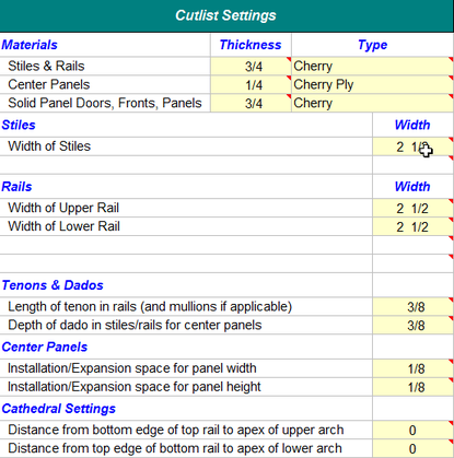 Kitchen Cabinet Cutlist Excel Spreadsheet