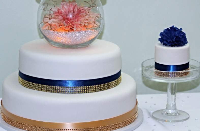 The Gold Jeweled Ribbon Adds A Glam To This 4 Tier Cake