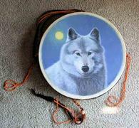 a painted 10 inch hoop drum from thunder valley drums