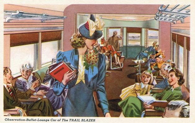 Observation-Buffet-Lounge Car on the Trail Blazer.