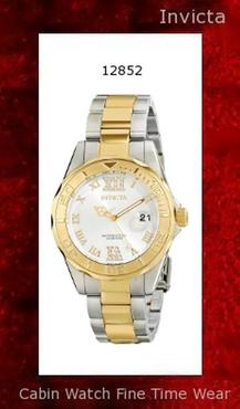 Watch Information Brand, Seller, or Collection Name Invicta Model number 12852 Part Number 12852 Model Year 2014 Item Shape Round Dial window material type Mineral Display Type Analog Clasp Fold-Over Clasp with Safety Case material Stainless steel Case diameter 38 millimeters Case Thickness 11 millimeters Band Material Two-tone stainless steel Band length Women's Standard Band width 18 millimeters Band Color Silver Dial color Silver Bezel material Stainless steel Bezel function Unidirectional Calendar Date Special features All Stainless Steel Item weight 8.80 Ounces Movement Japanese quartz Water resistant depth 660 Feet