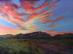 Sunset's Mountain Majesty, a large Lindy C Severns oil landscape of Davis Mountains ranchland.