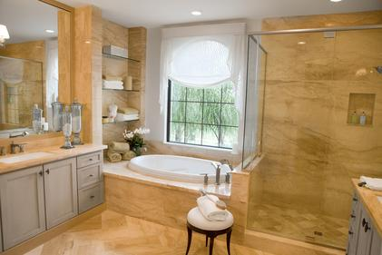 Picture of bathroom mirror, window glass and framless shower