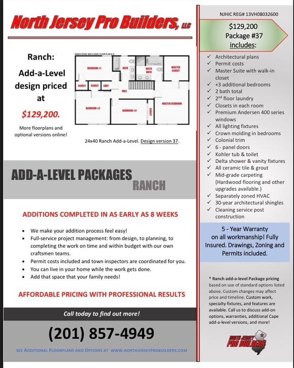 North Jersey Pro Builders | Ranch add-a-level floor plan 37
