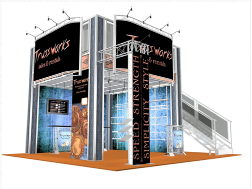 Trussworks double deck exhibit booth side view.