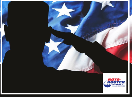 Roto-Rooter Plumbing & Drain Cleaning Logo Image With American Flag Being Saluted By a soldier
