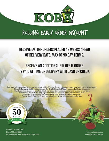 KOBA's Rolling Early Order Discount Flyer