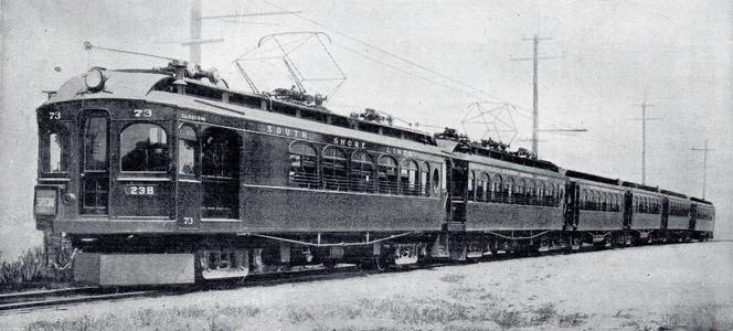 A Chicago, Lake Shore & South Bend limited train near the Indiana Dunes in the 1920s.