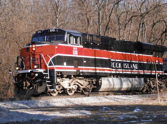 "Iowa Interstate's ES44AC no. 513 painted in ""Rock Island"" Heritage colors arrives in the east end of Bureau Junction, Illinois as a scheduled ""West Train""."