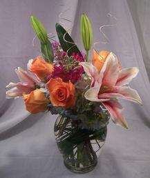 NB-LILRO1 Oriental Lily, Hydrangea, Roses, Stock