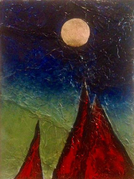 Galway Hooker with Moon. August 2018. 40x30cm. Golden acrylic paints and copper on canvas. Varnished and framed natural wood edge. Contemporary art by Irish artist Orfhlaith Egan. For sale, please inquire for price.